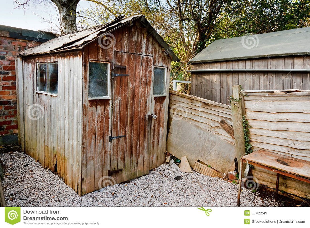 Very Impressive portraiture of  panel wooden garden shed with damaged roof and hole from wood rot with #936838 color and 1300x957 pixels