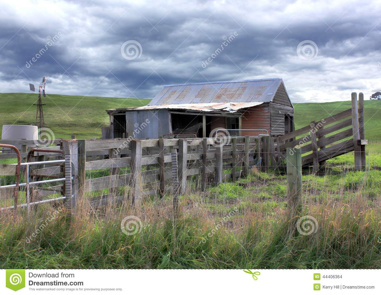 Old Rundown Shed And Cattle Yards Stock Photo - Image ...