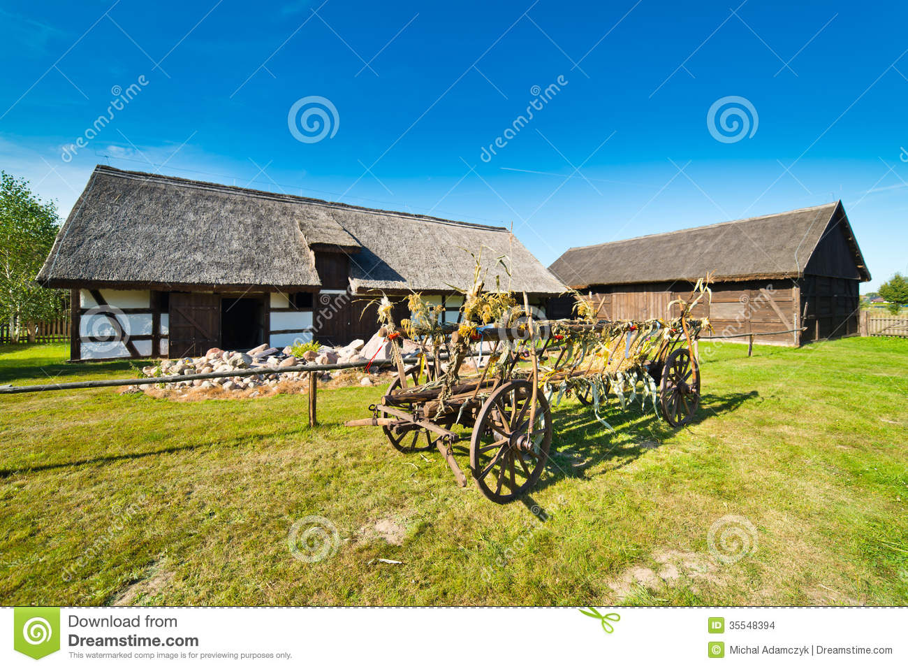 Old Rural Barn In Poland And Threshing machine XIXth Century Stock Image