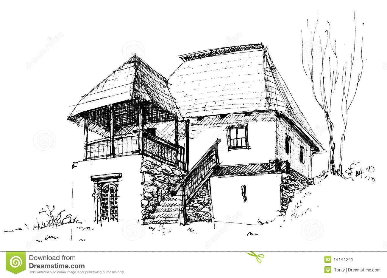 Old rural house stock image image 14141241 for House sketches from photos