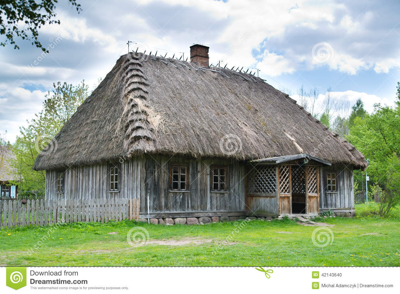 Old Rural House With Thatched Roof Stock Photo Image