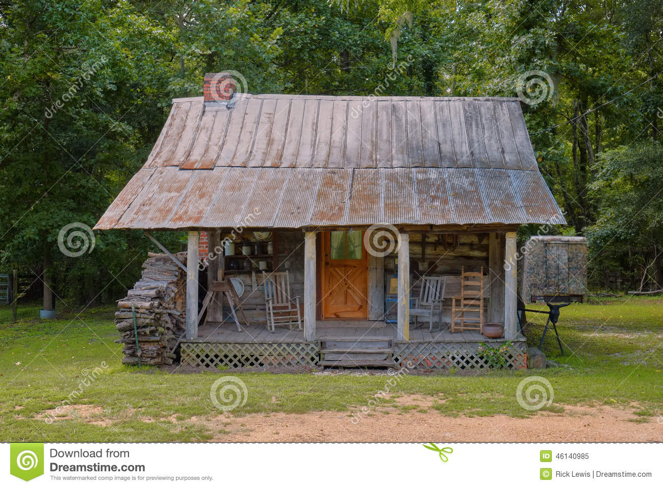 Old Rural Southern Log Cabin Stock Photo Image 46140985