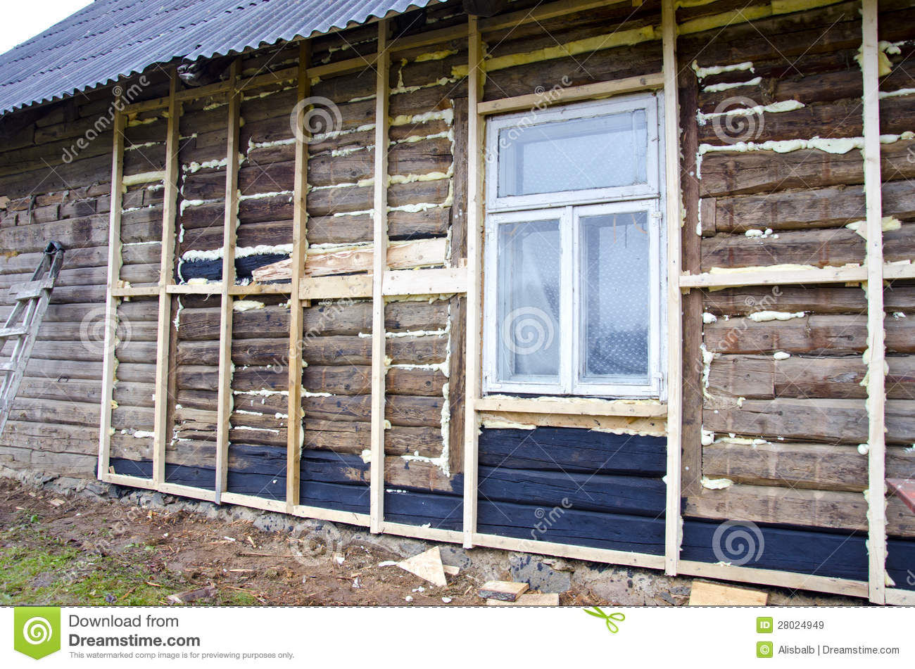 Old Rural Wooden House Restoration And Insulation Royalty Free Stock Images Image 28024949