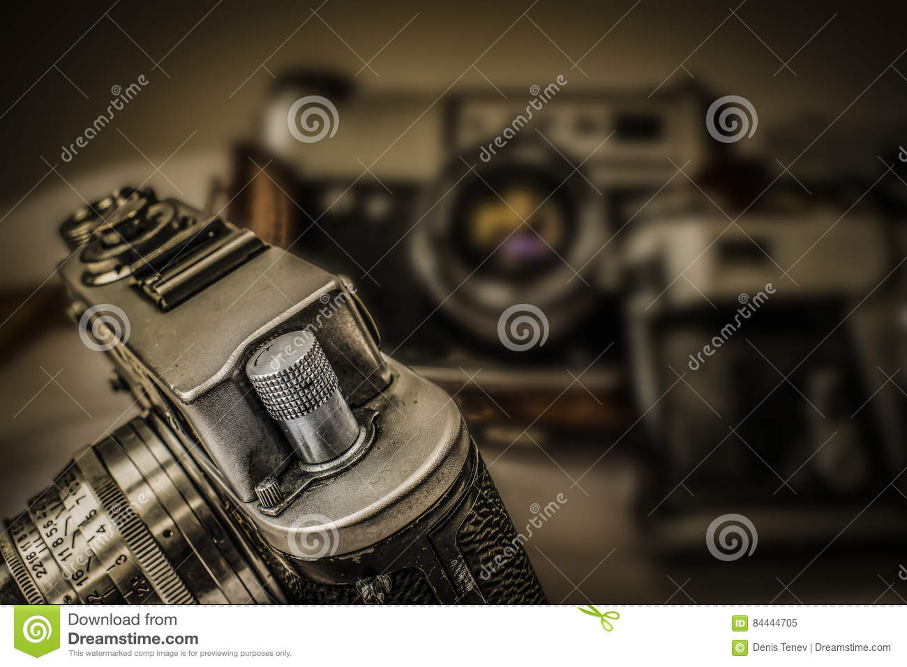 Old Russian analog film cameras with manual controls