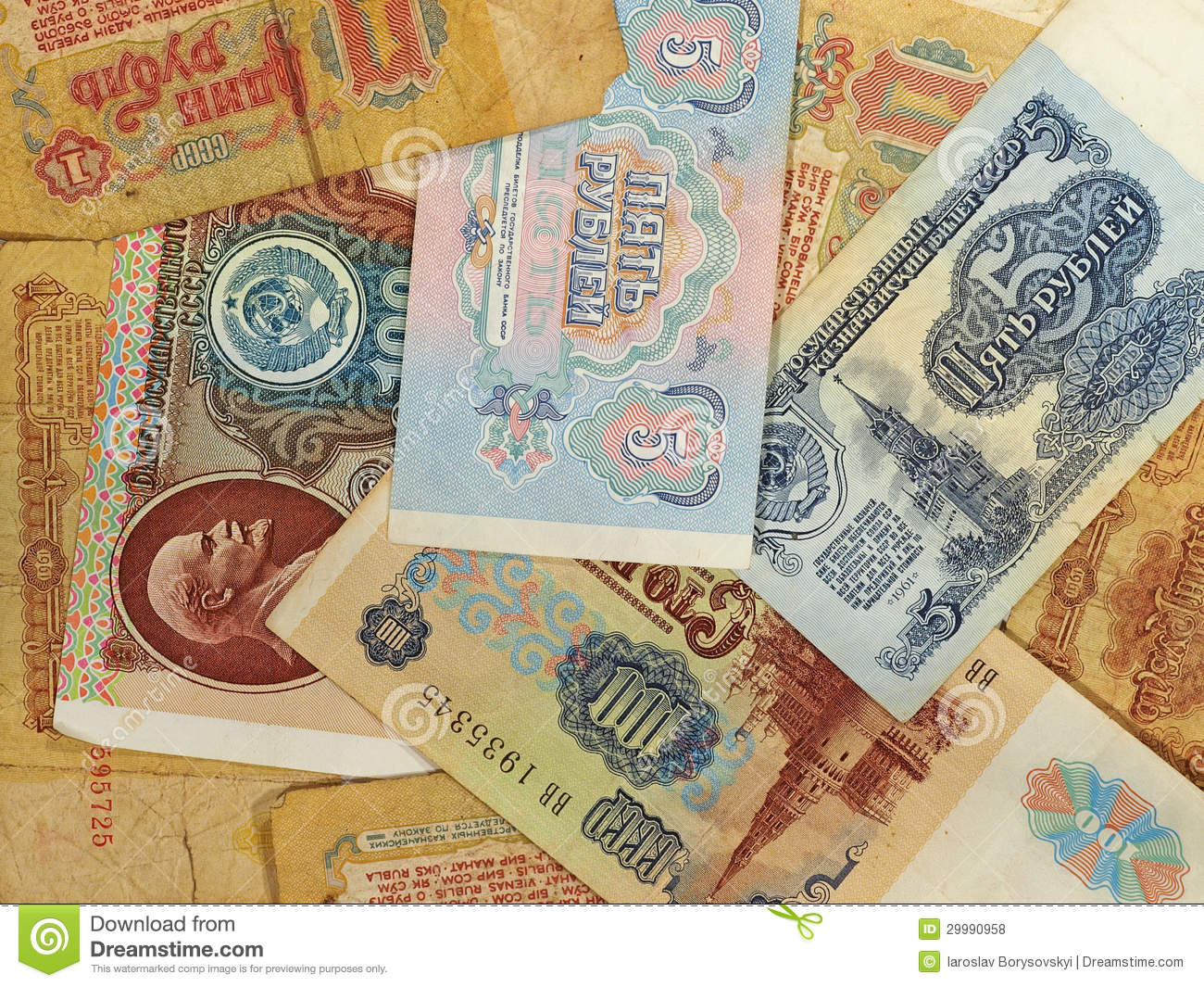 Old Russian ruble banknotes.Background.