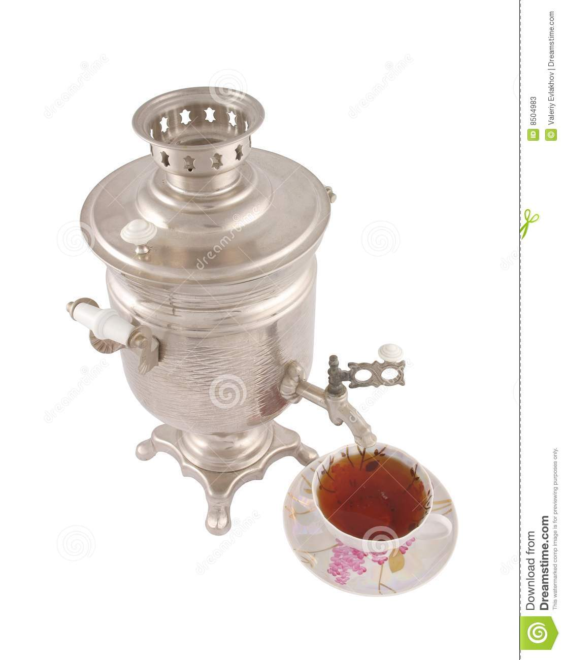 old russian tea samovar and cup of tea stock photos. Black Bedroom Furniture Sets. Home Design Ideas