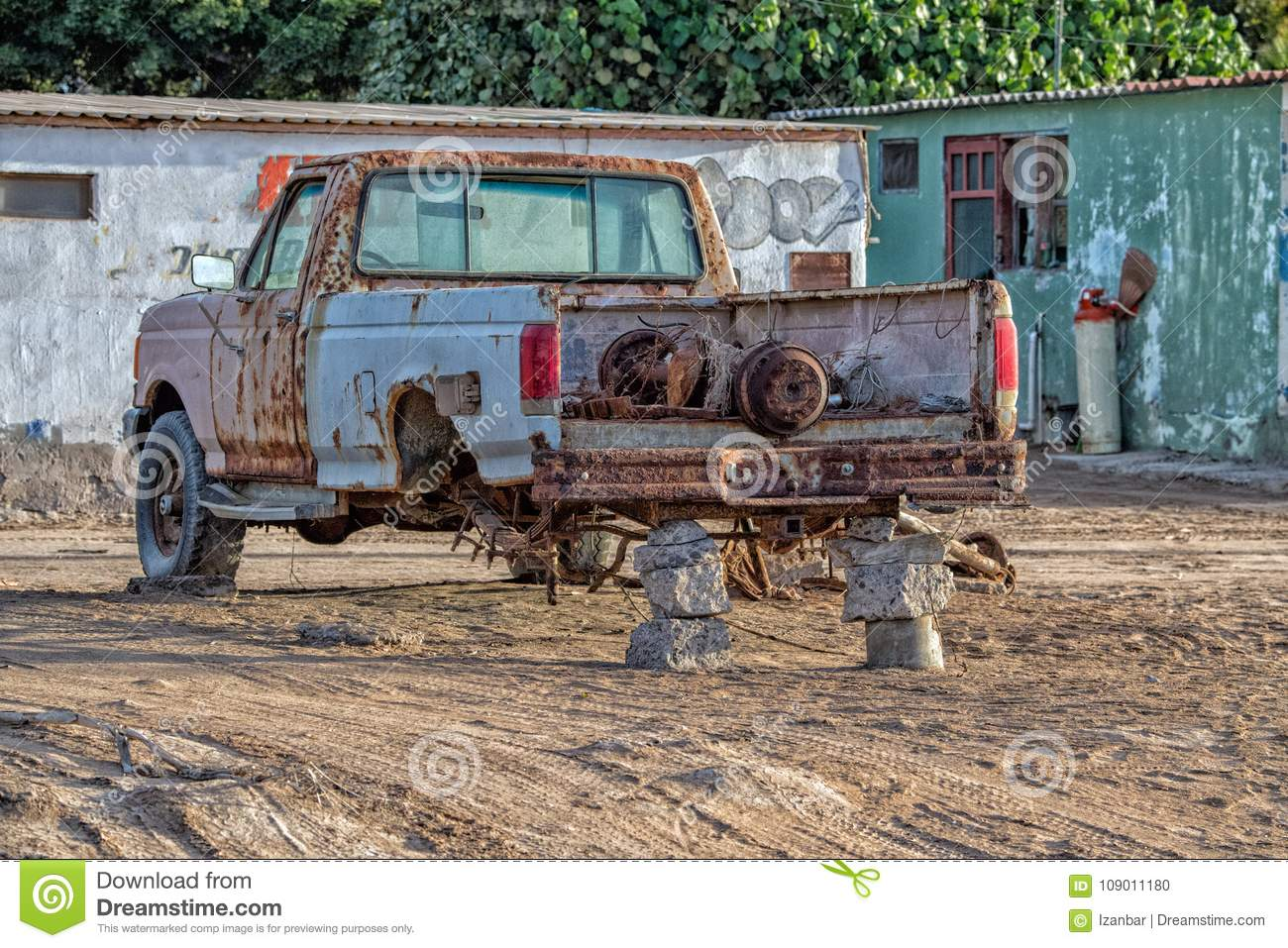 Download Old Rusted Abandoned Car No Tires Stock Photo - Image of broken, metal: 109011180