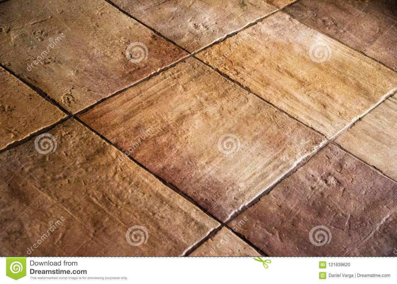 Old Rustic Brown Beige Colour Floor Tiles Stock Photo Image Of