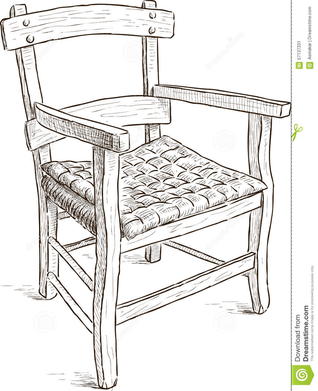 Old Rustic Chair Stock Vector Image 57137331