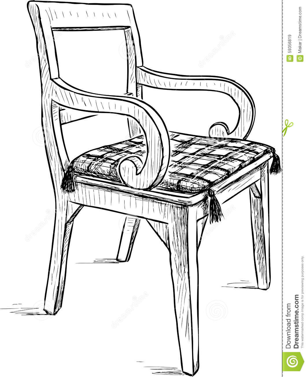 Old rustic chair stock vector image