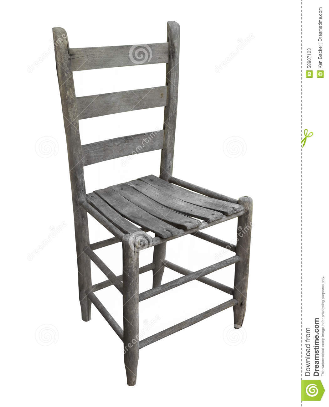 Old, worn, and unpainted rustic wooden ladder back chair. Isolated on ...