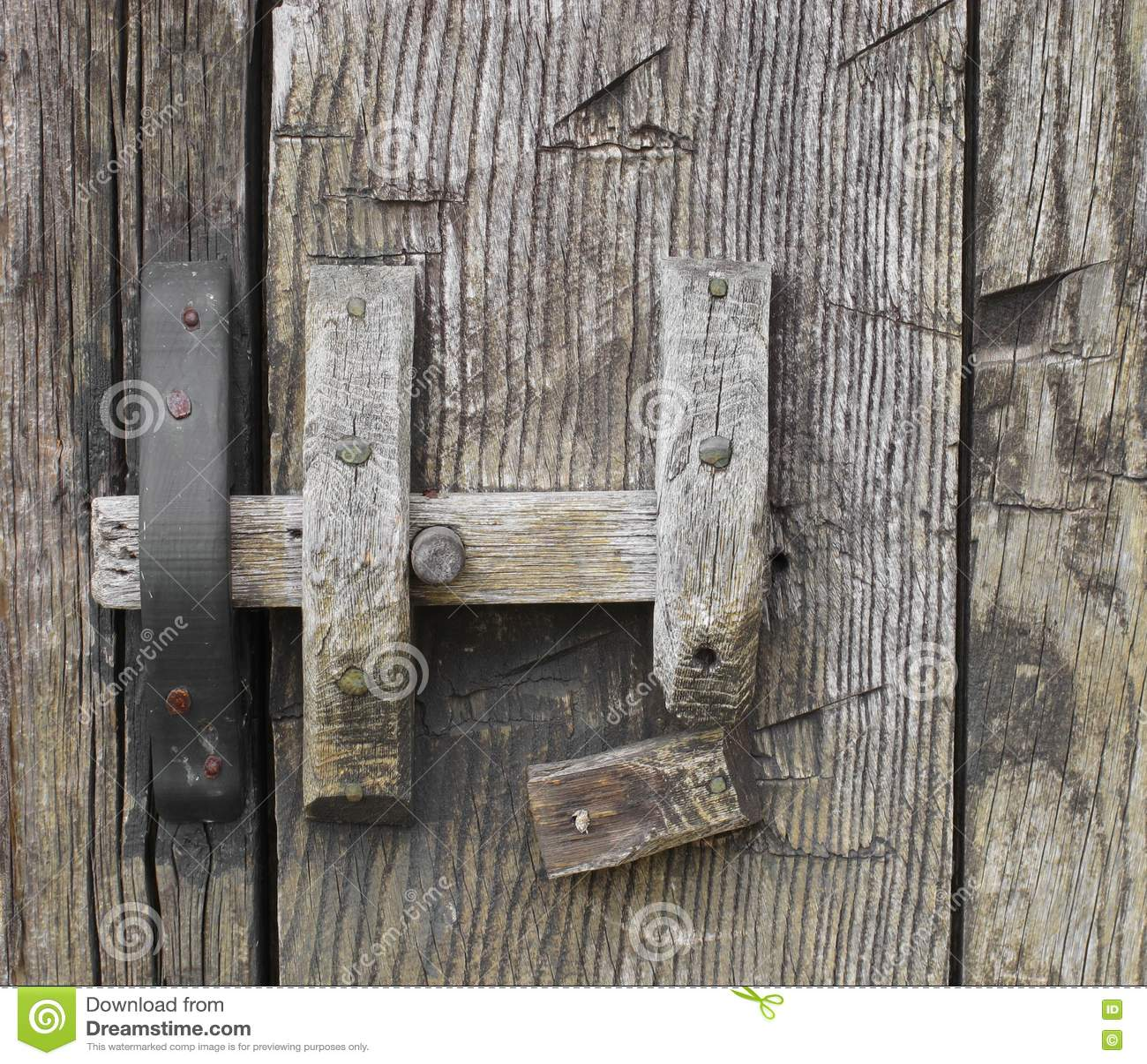 Old Rustic Wooden Door Latch Stock Photo Image Of Retro