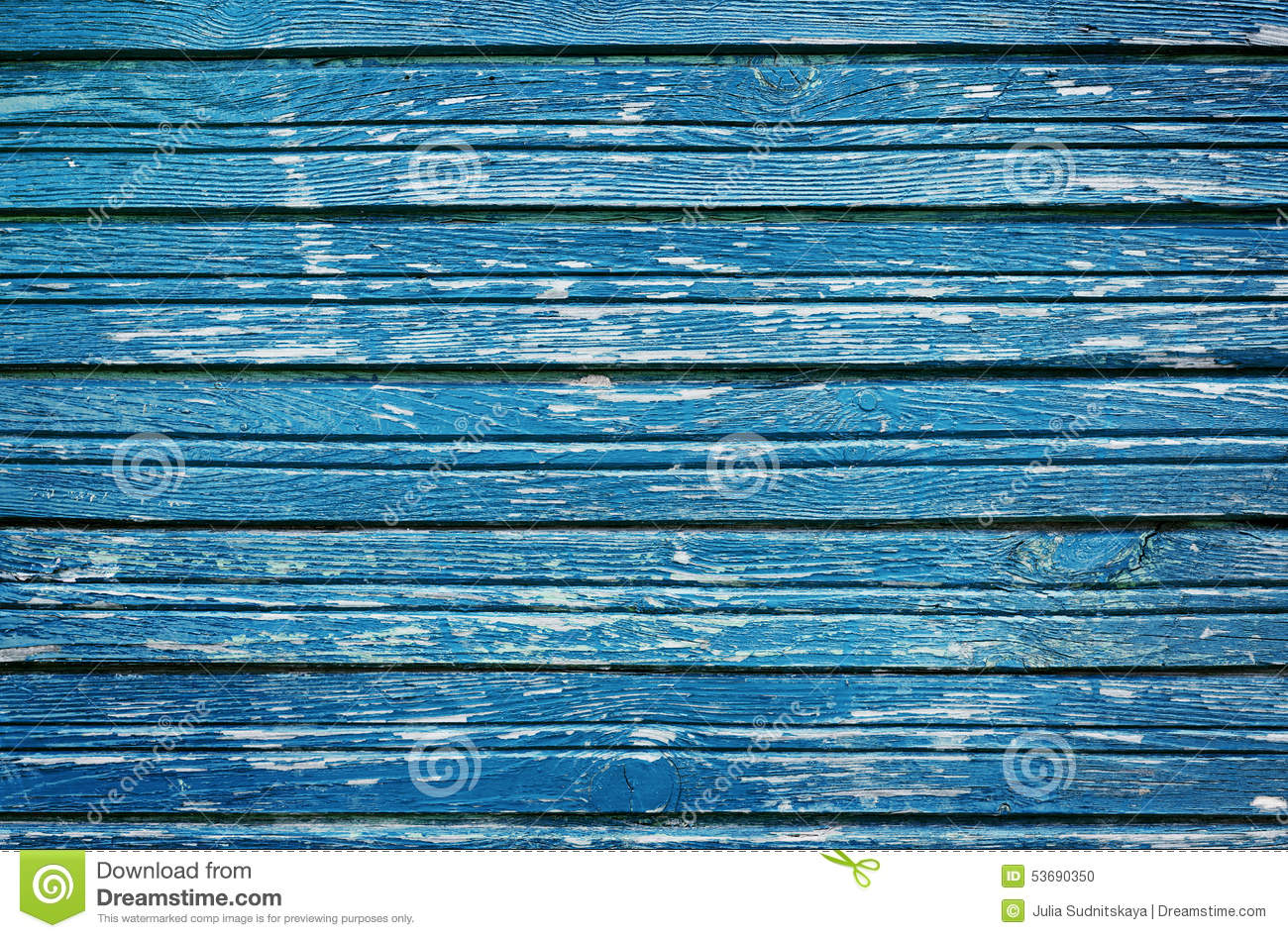 Old rustic wooden planks with blue cracked paint, vintage wall wood ...