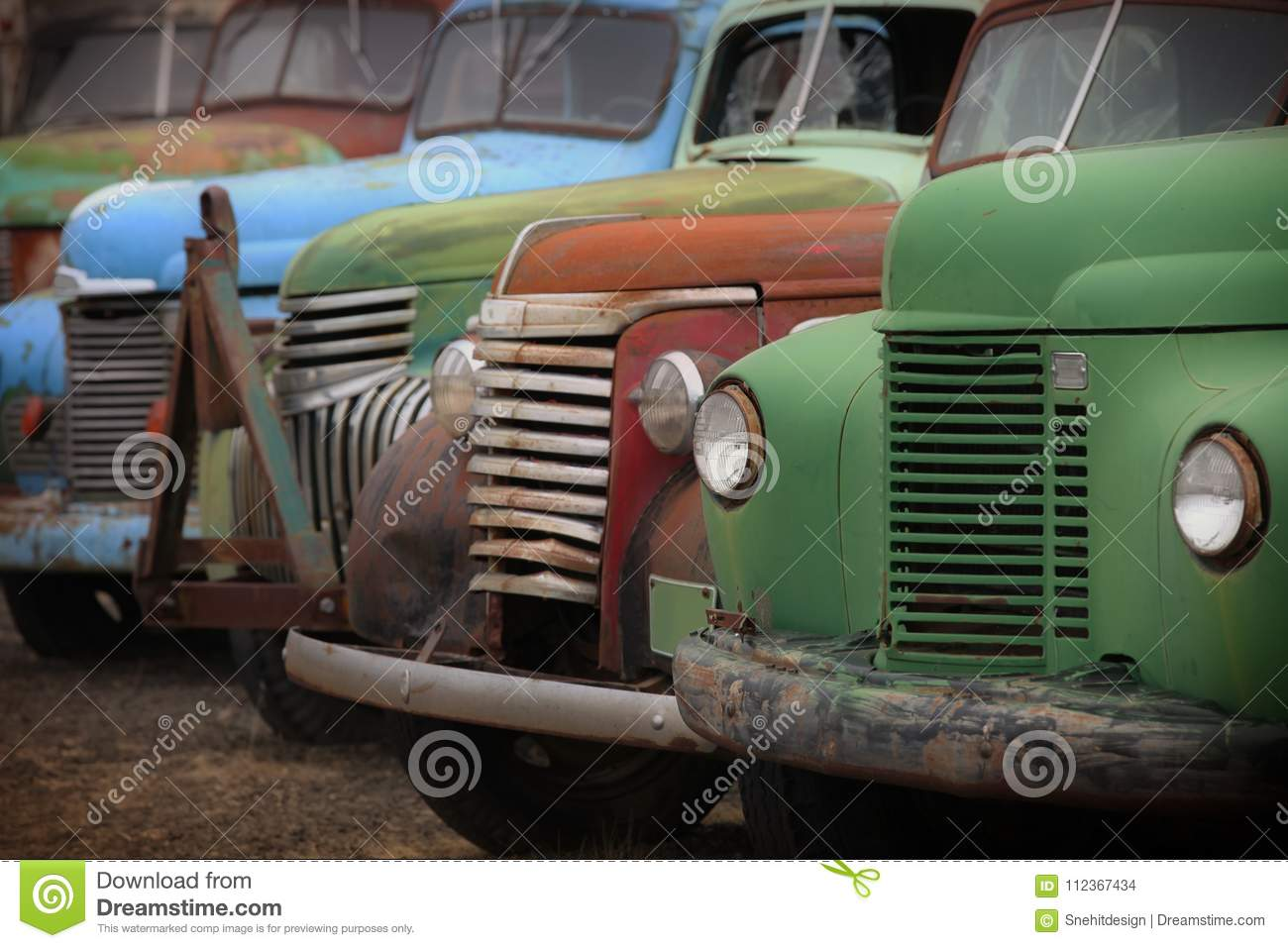 Old rusty abandoned trucks stock photo. Image of broken - 112367434