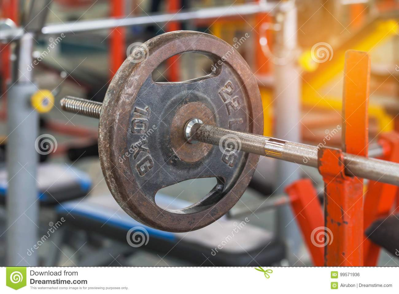 Old rusty barbells weight equipment sports training and exercises