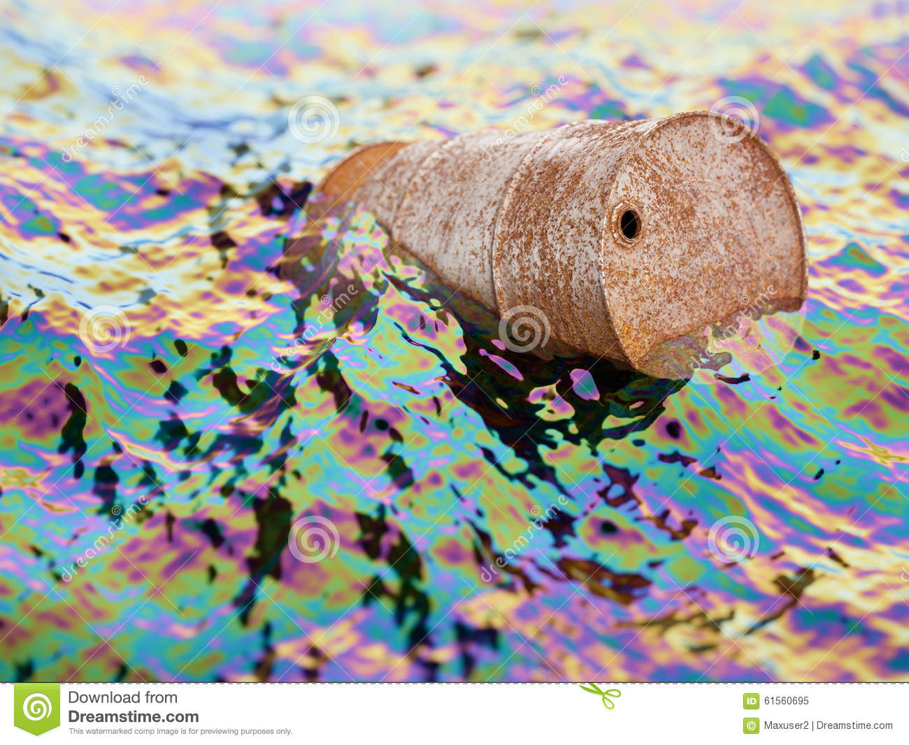 Old rusty barrel in polluted water with oil film