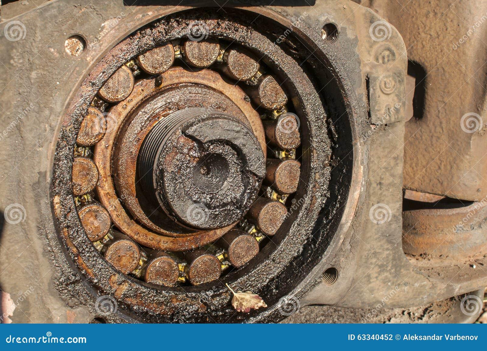 Old Rusty Bearing Of Railroad Wheel Stock Photo