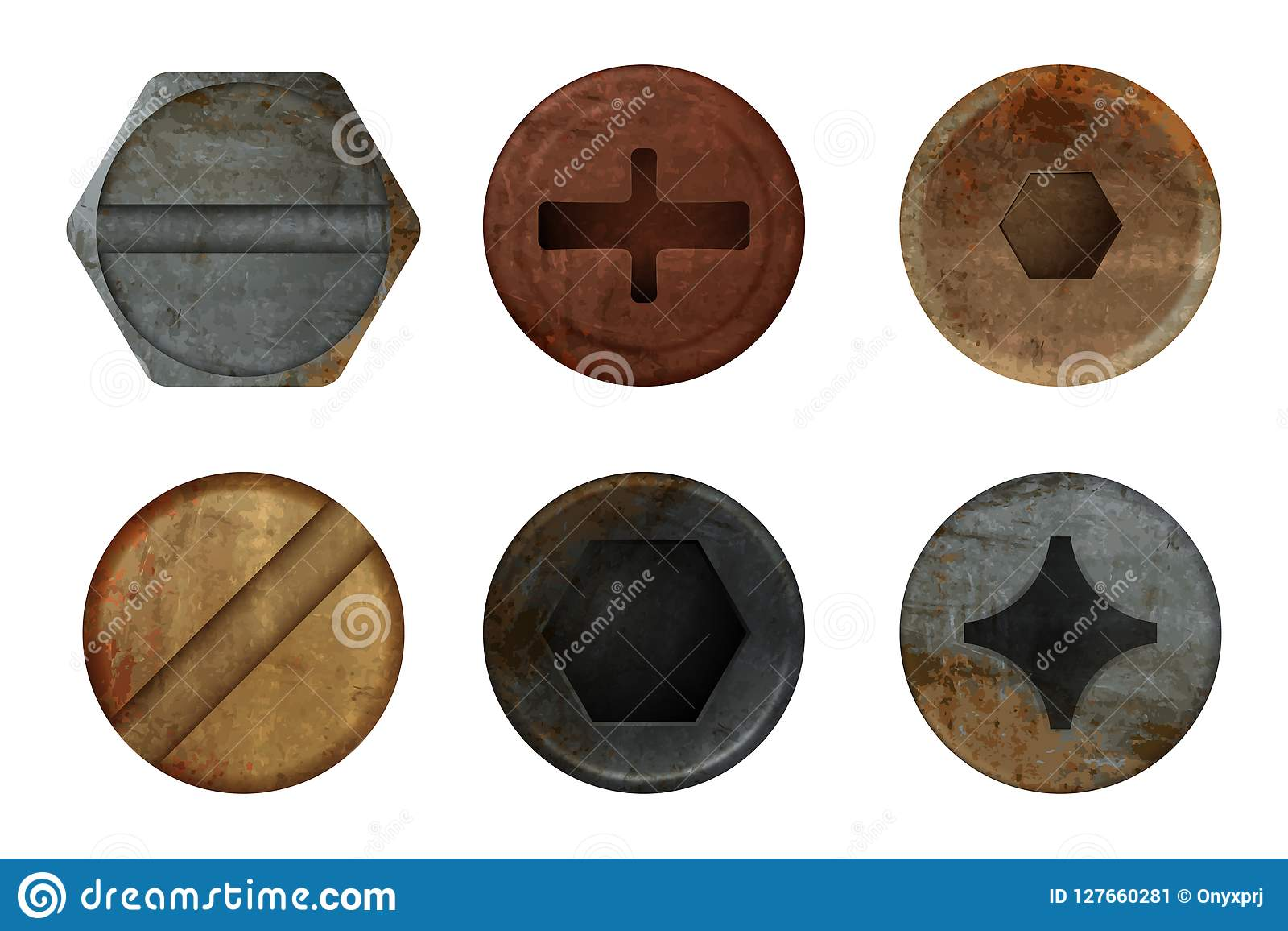 Old rusty bolts screw. Hardware rust metal texture for different iron tools. Vector realistic pictures