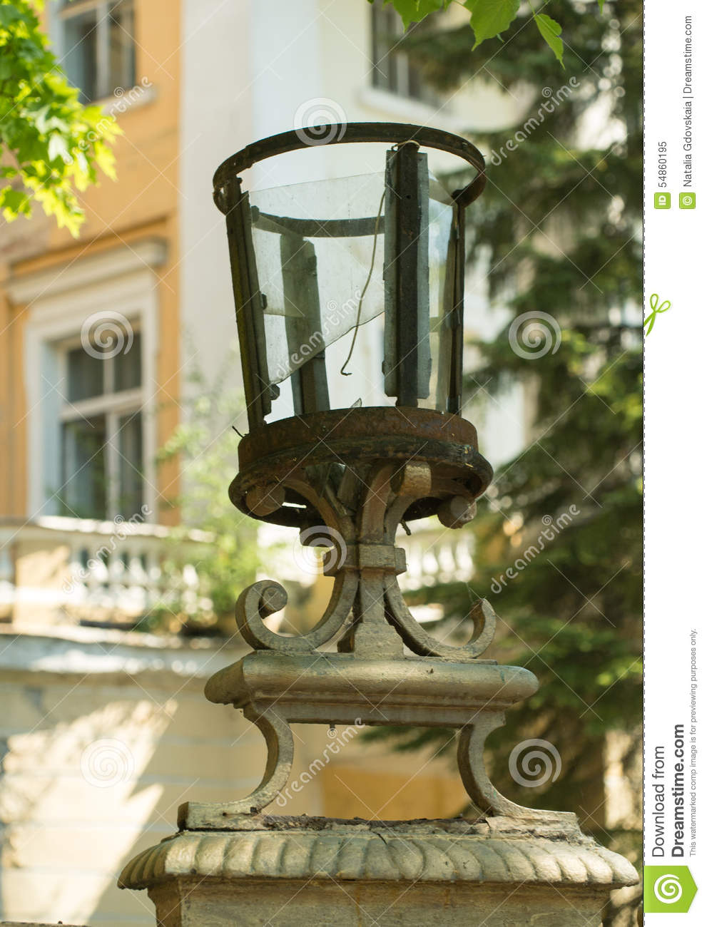 Broken And Rusty Lamp Stock Image