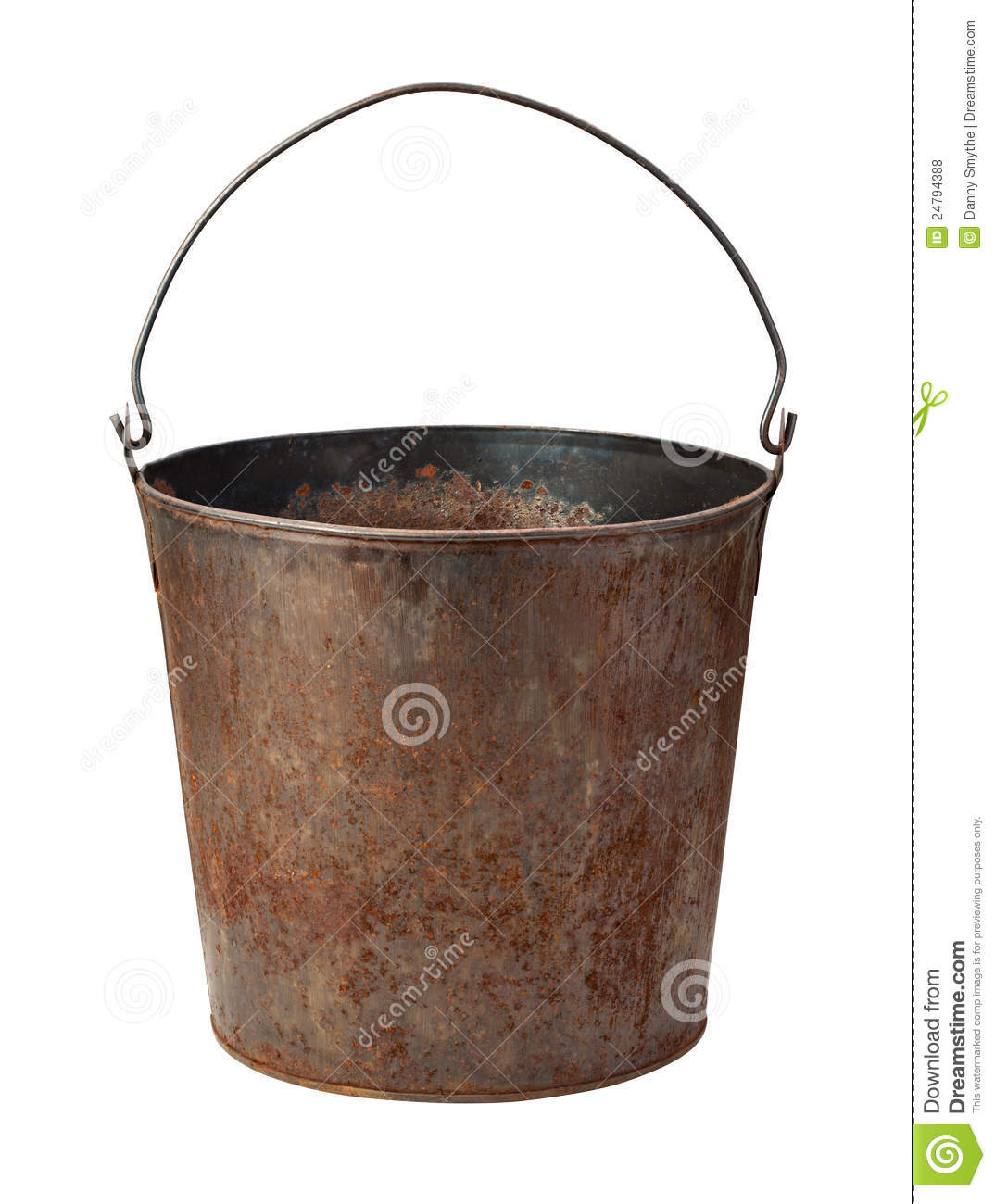 Old rusty bucket isolated with clipping path stock photo for Old metal buckets