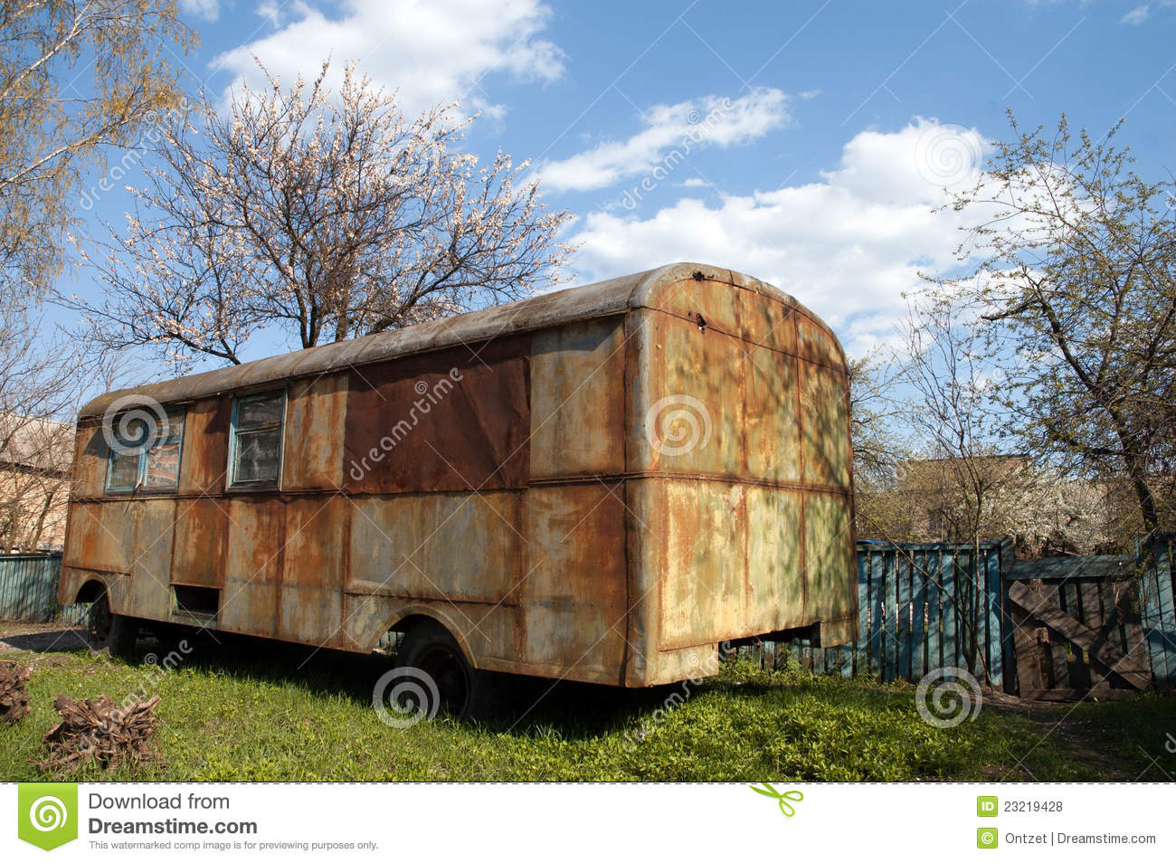 Old Rusty Bus In The Garden Stock Photo - Image of scrap, cloud ...