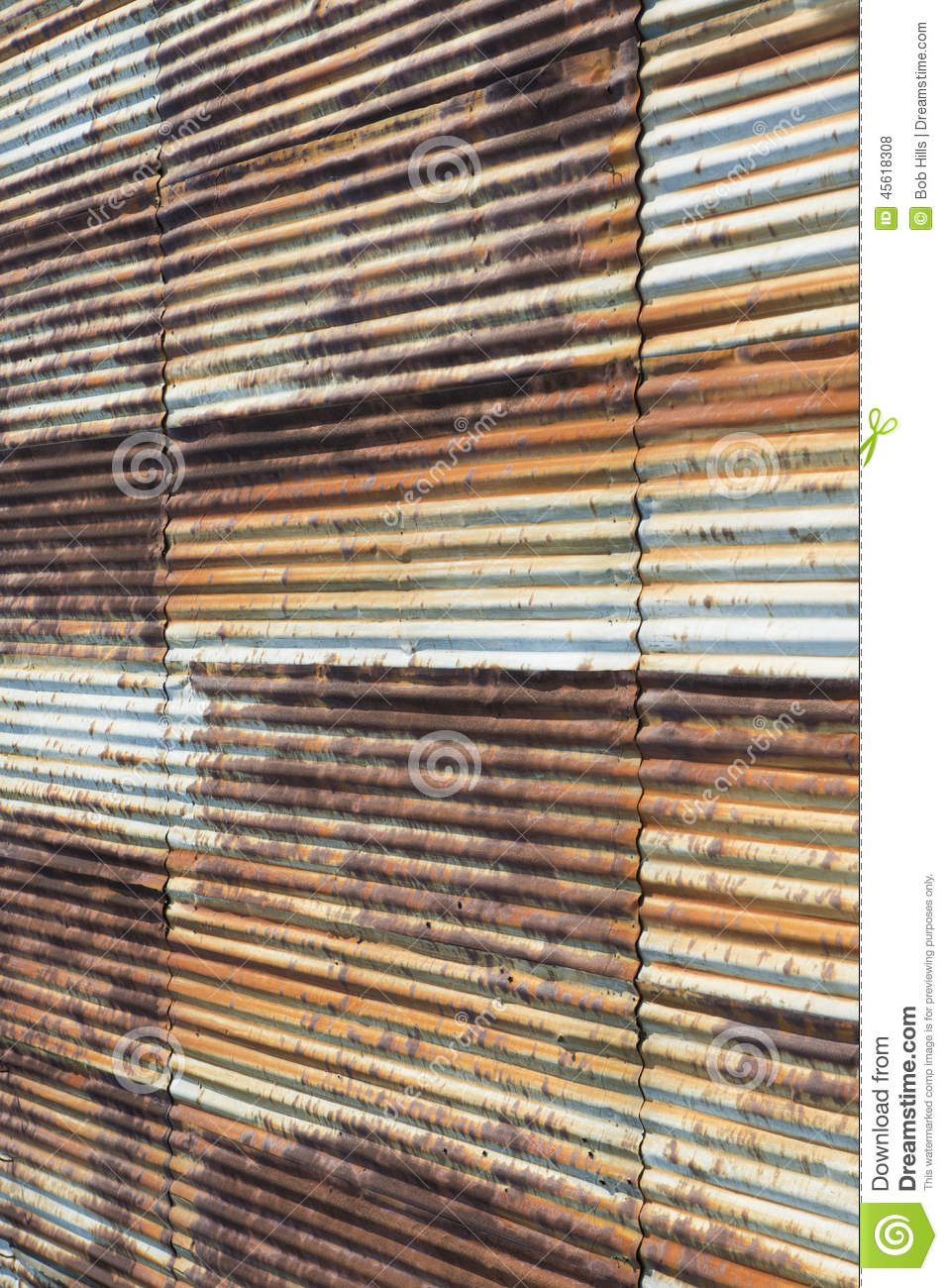 Old Rusty Corrugated Steel Wall Vertical Stock Photo
