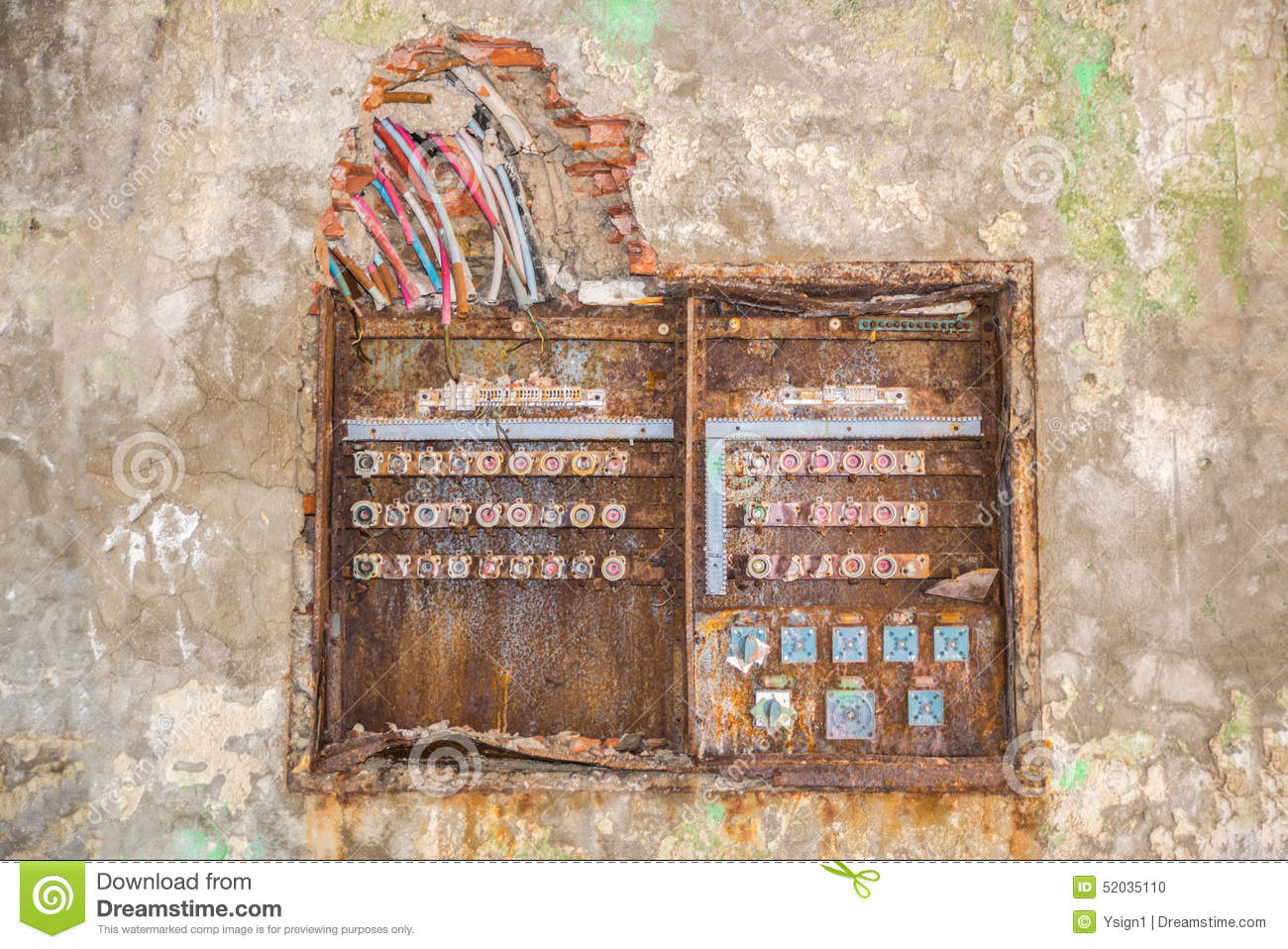 Old Rusty Fuse Box Stock Photo Image 52035110
