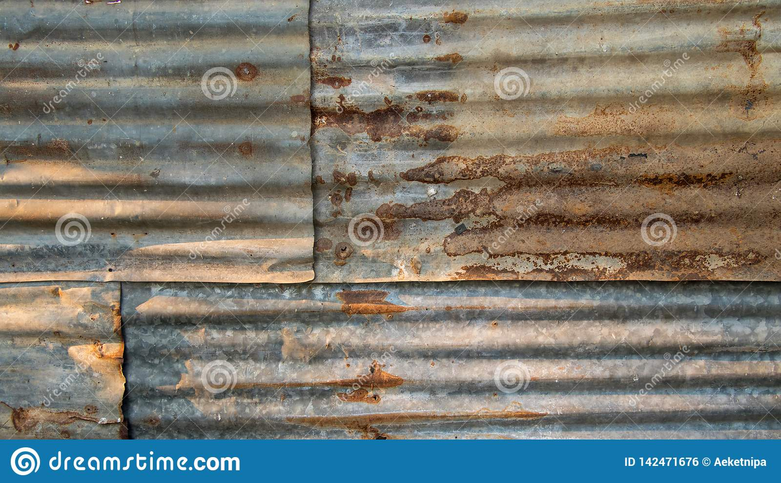 The Tin Roof Background With The Rust And Nails Hole By