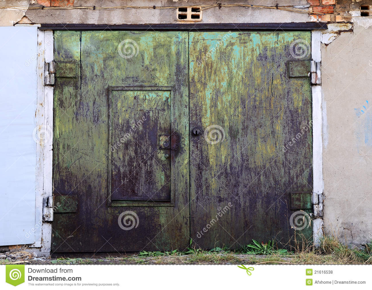 Old Rusty Garage Doors Closed Stock Photo Image 21616538