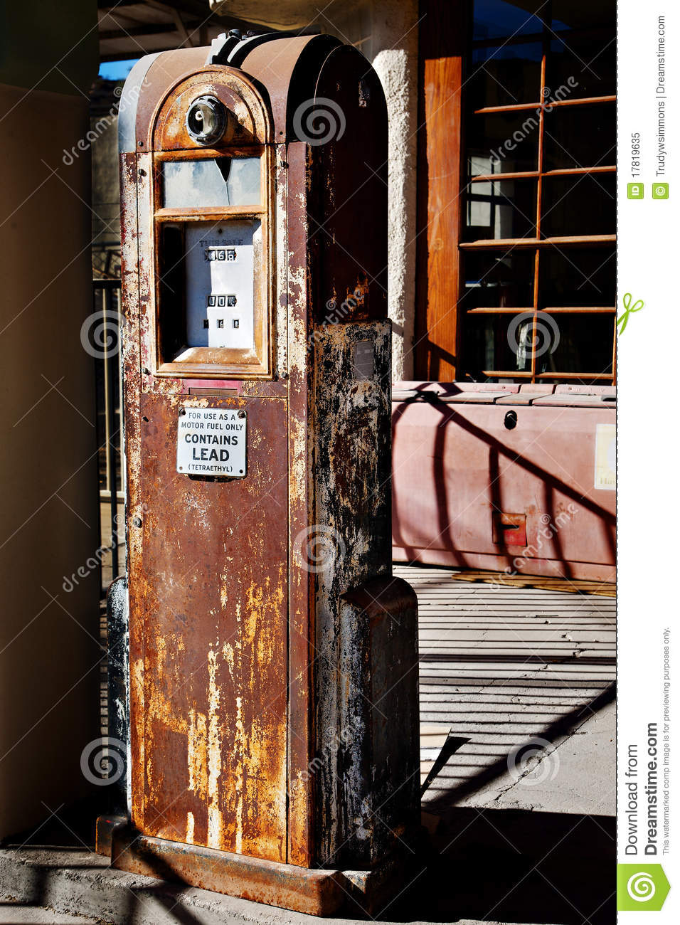 Old Rusty Gas Pump With Interesting Shadows Stock Image - Image of