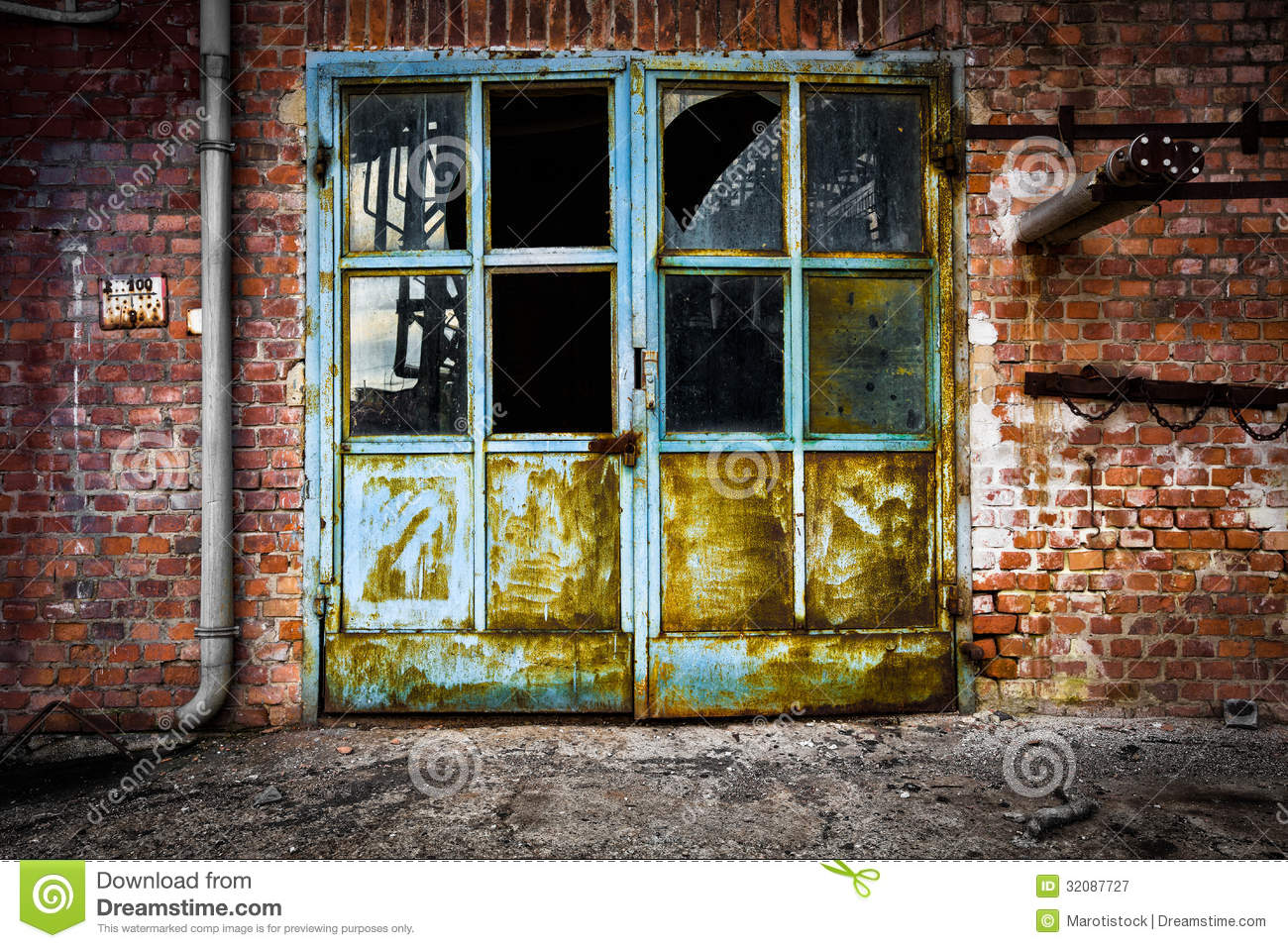 Old Rusty Iron Door Glass Brick Wall Stock Image Image