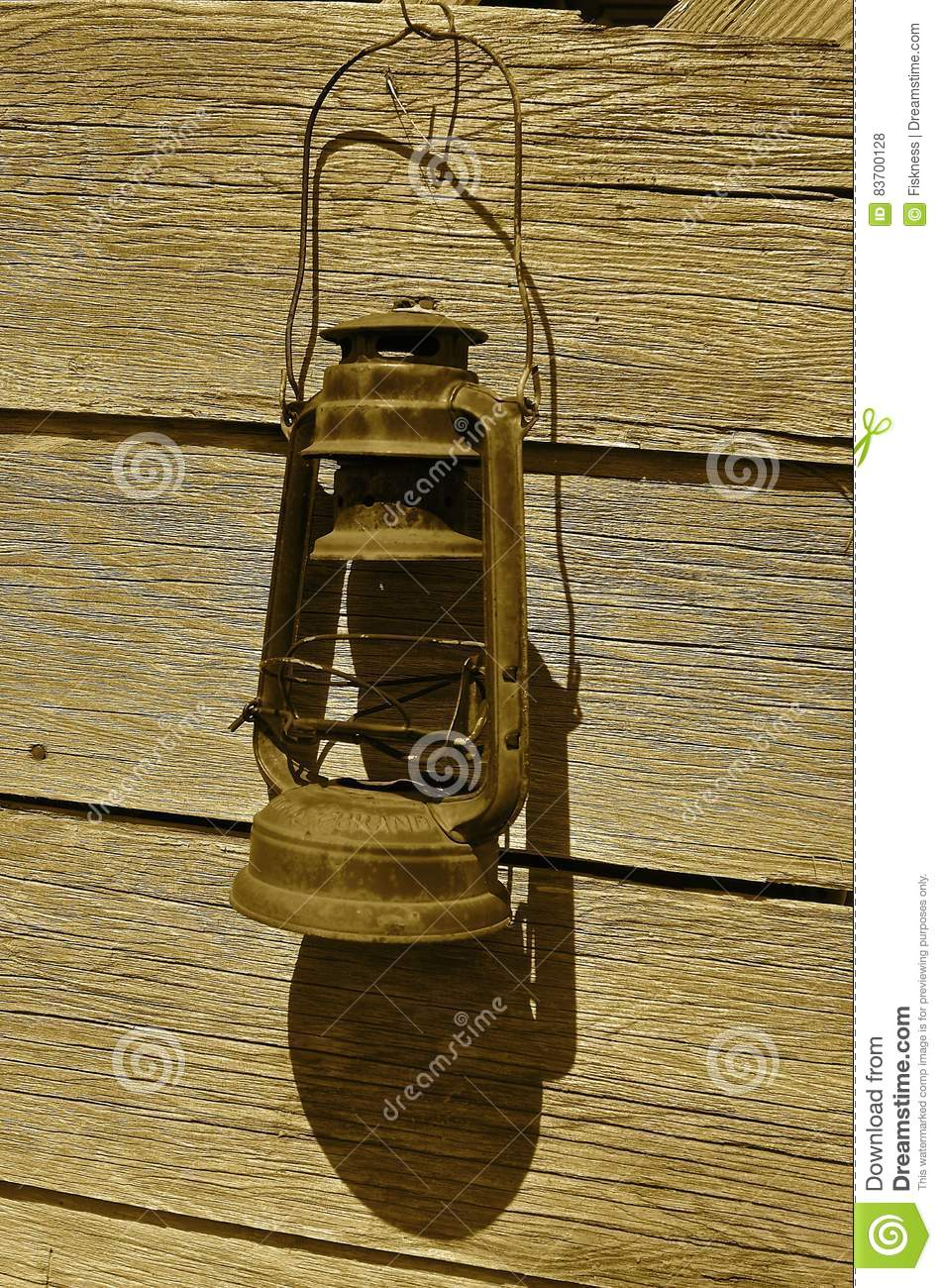 Old Rusty Kerosene Lantern Stock Photo