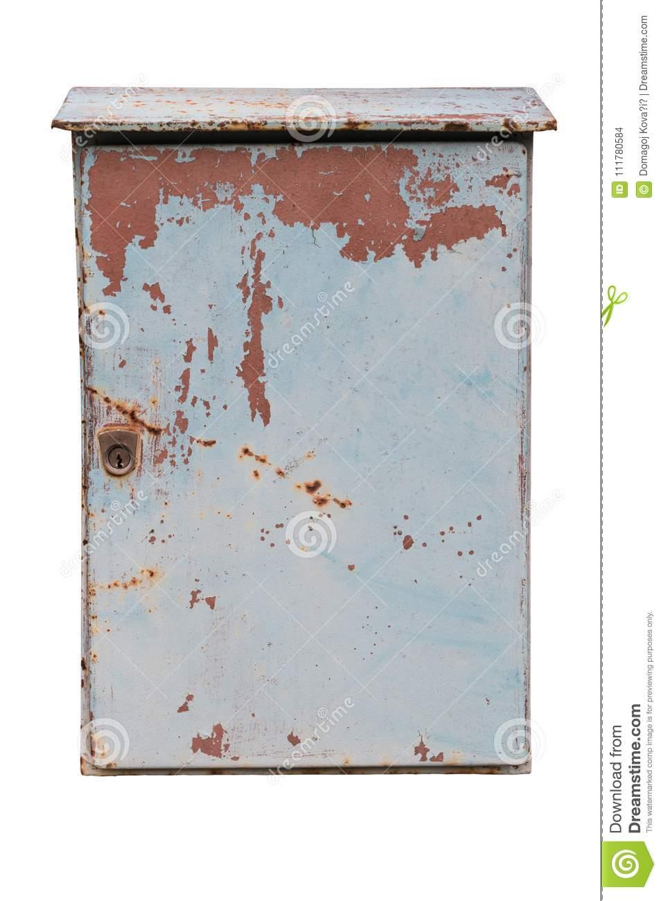 Old and rusty metal mailbox isolated on a white background. Path saved.