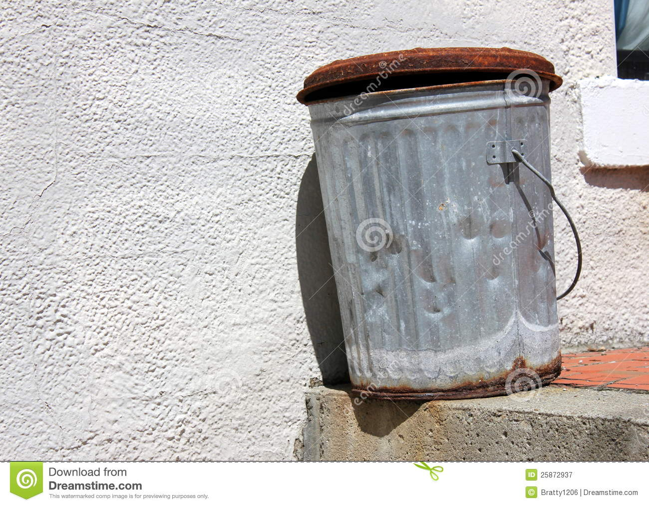 Old Rusty Metal Trash Can Stock Image Image Of