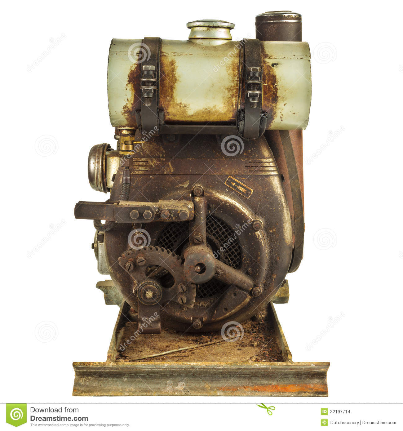 Old Rusty Motor Engine Isolated On White Stock Images ...