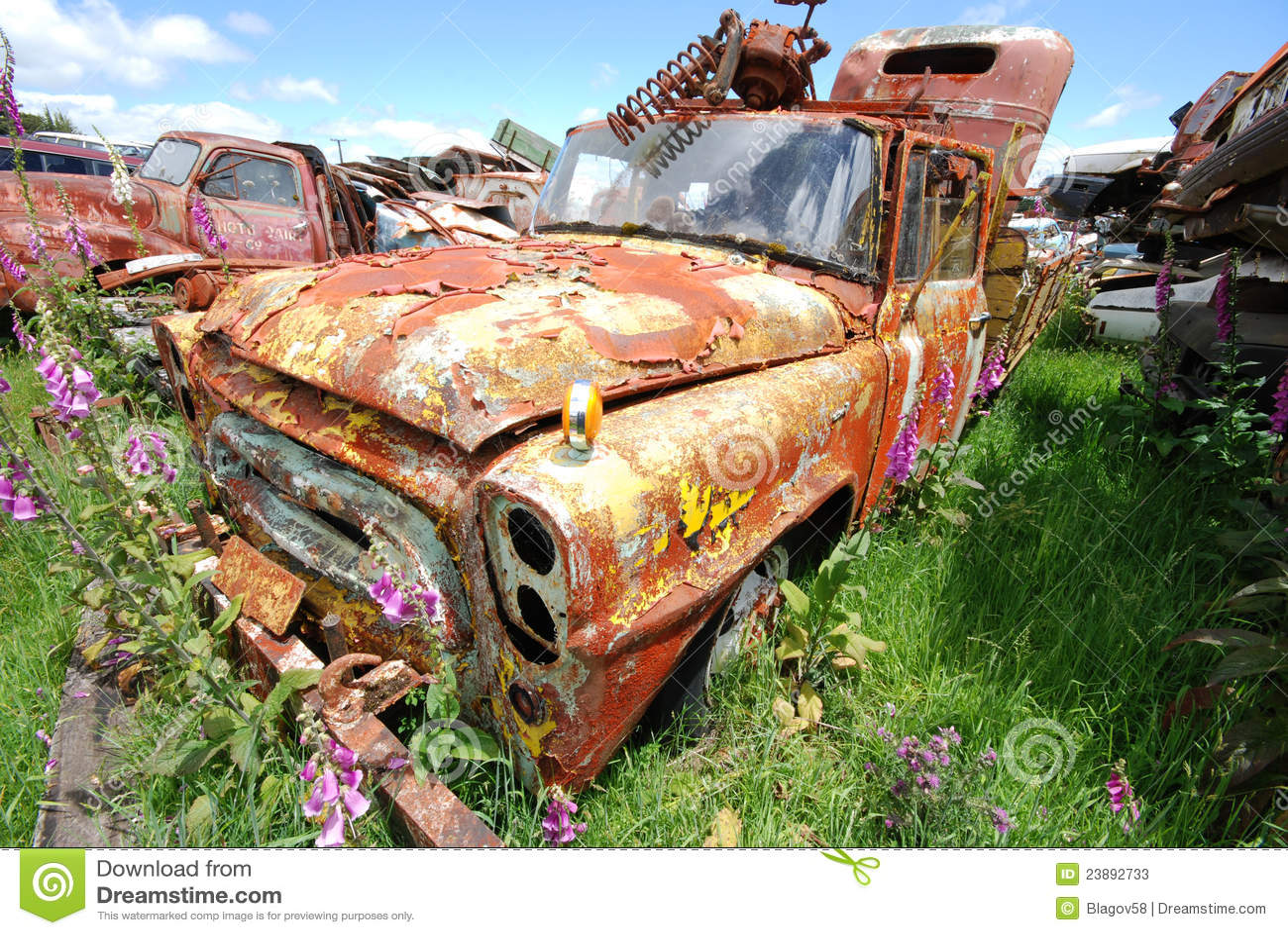 Old Rusty Pickup Trusk At A Car Junkyard Stock Image - Image of ...