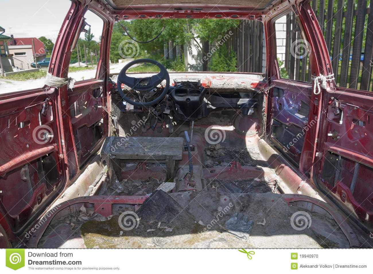 old rusty red car inside view stock photo image 19940970. Black Bedroom Furniture Sets. Home Design Ideas
