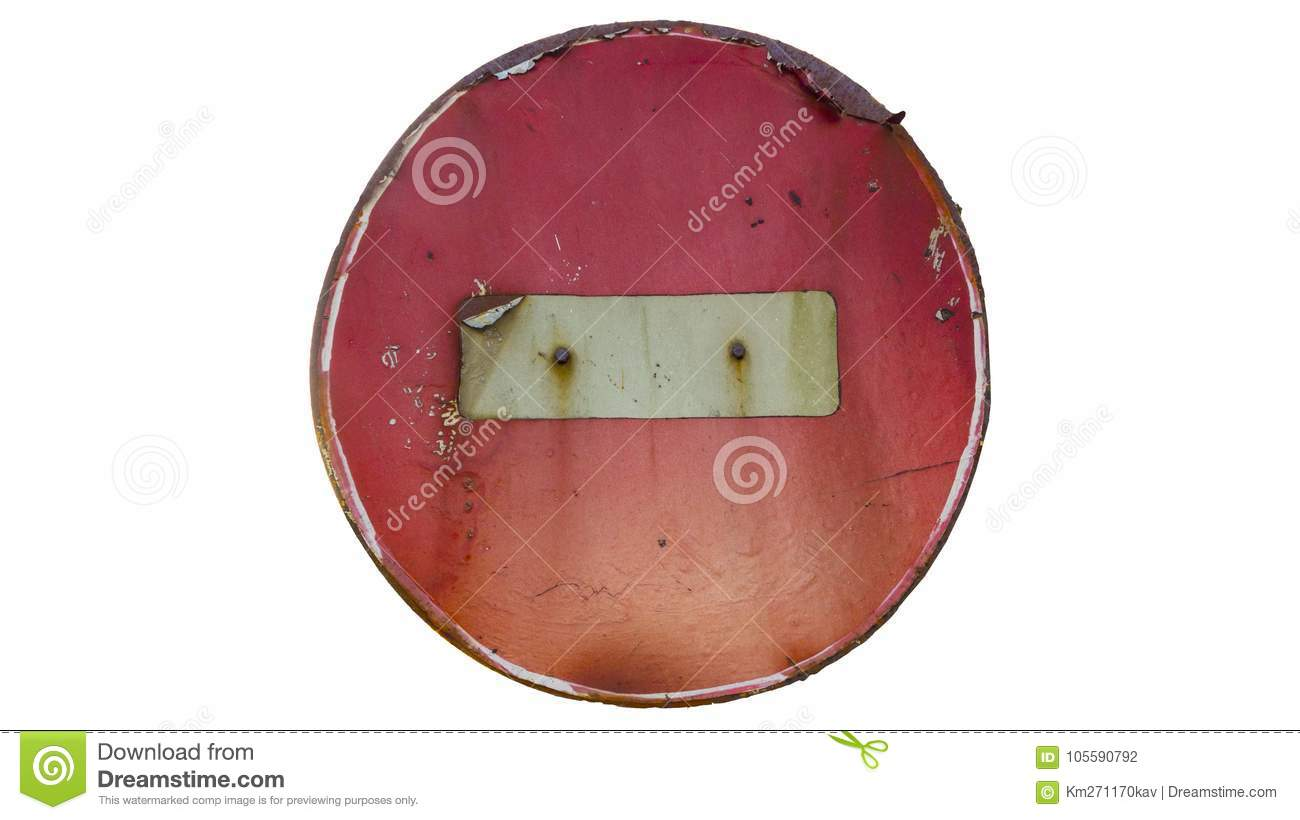 Download Old Rusty Scratched Round Red Road Sign `Do Not Enter` Stock Photo - Image of scratched, enter: 105590792