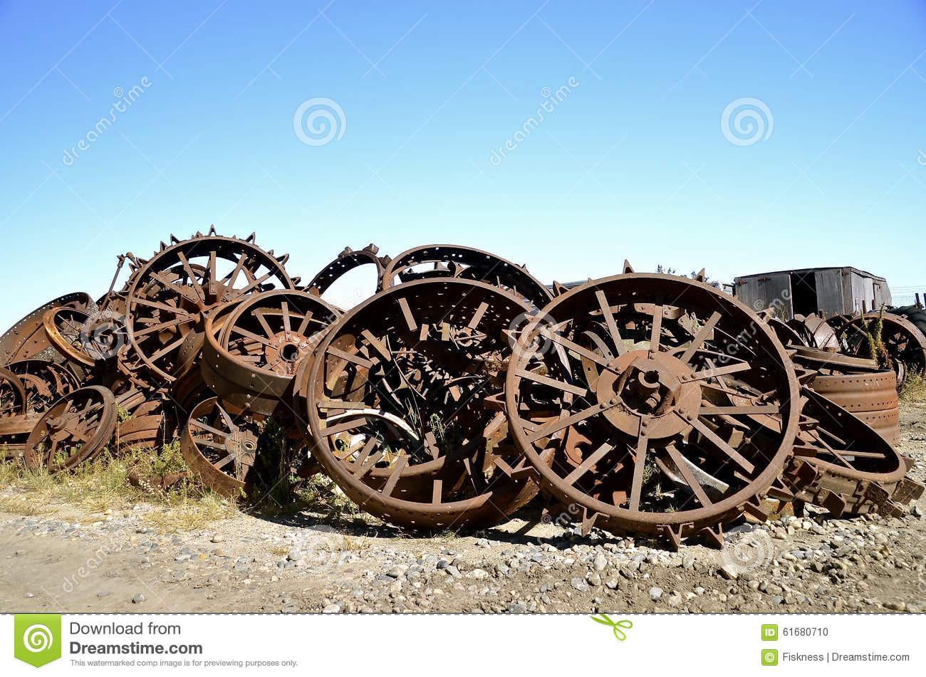 Steel Wheels For Tractors : Old rusty steel tractor wheels stock photo image of