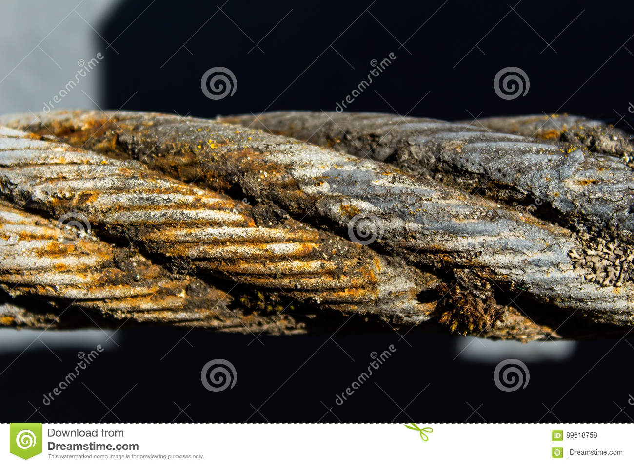 Old rusty steel wire rope stock photo. Image of abstract - 89618758