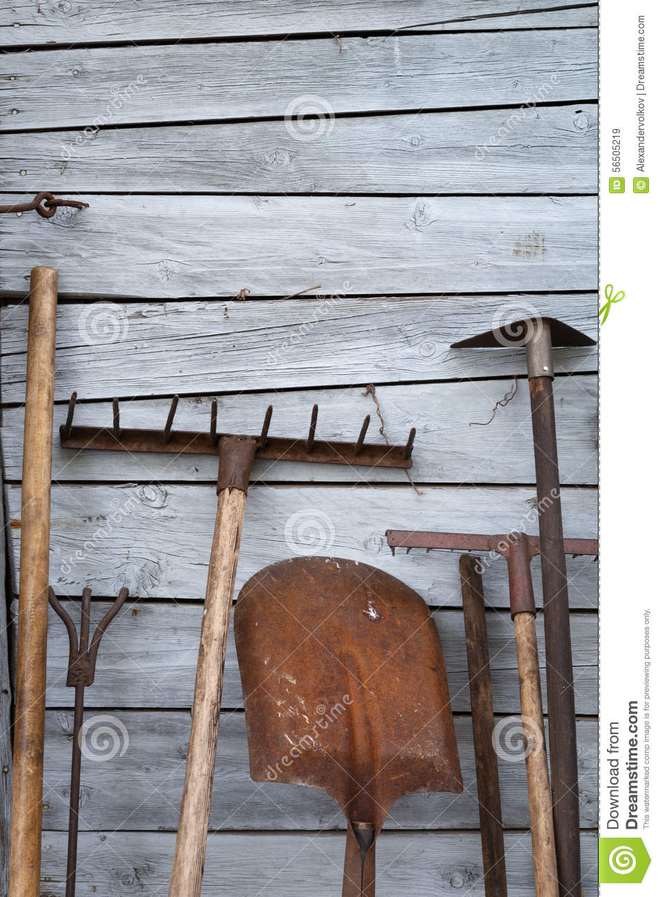 The old rusty tradition tools