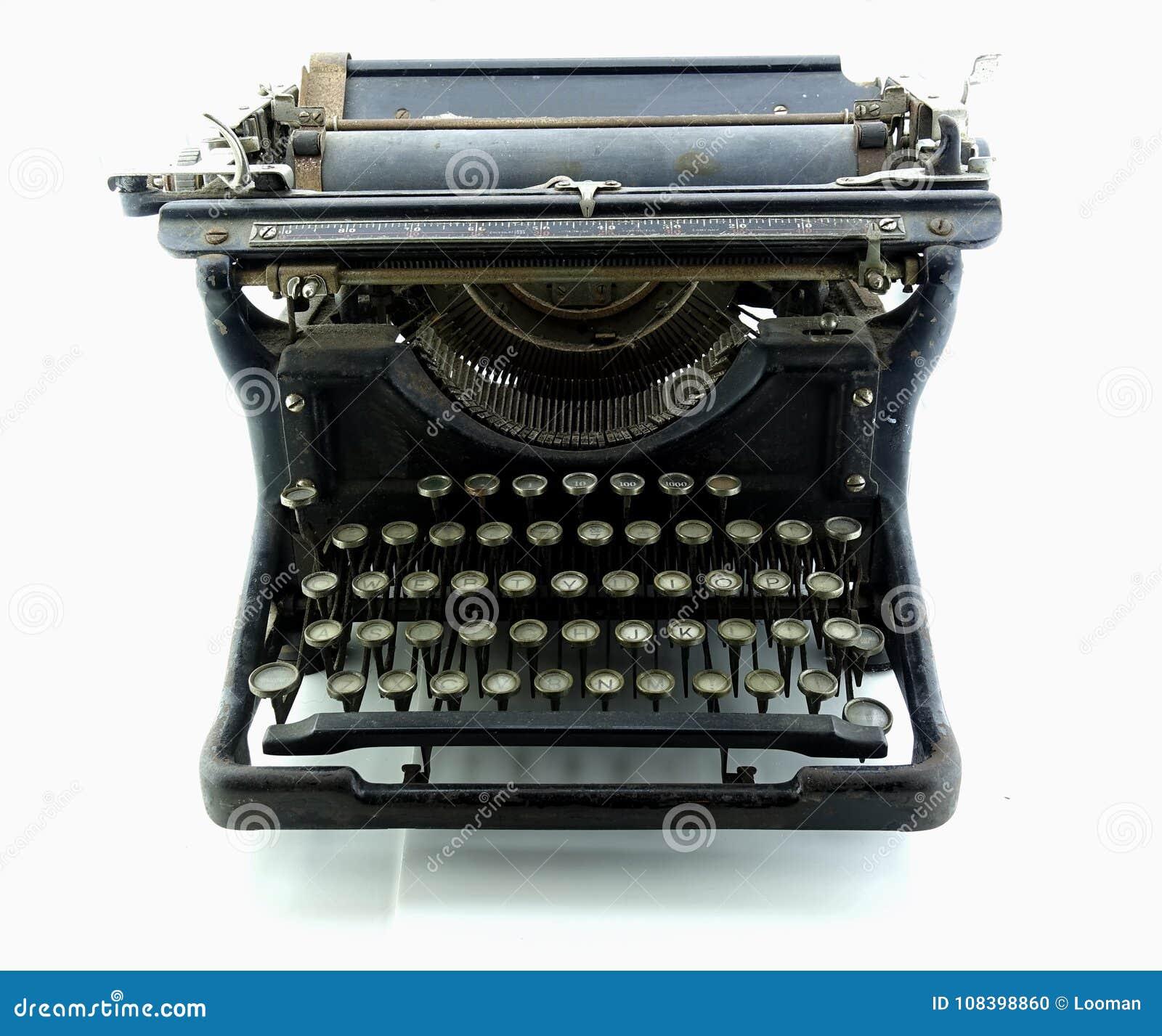 06121c8298c Old Rusty Typewriter Isolated Stock Photo - Image of cyrillic ...