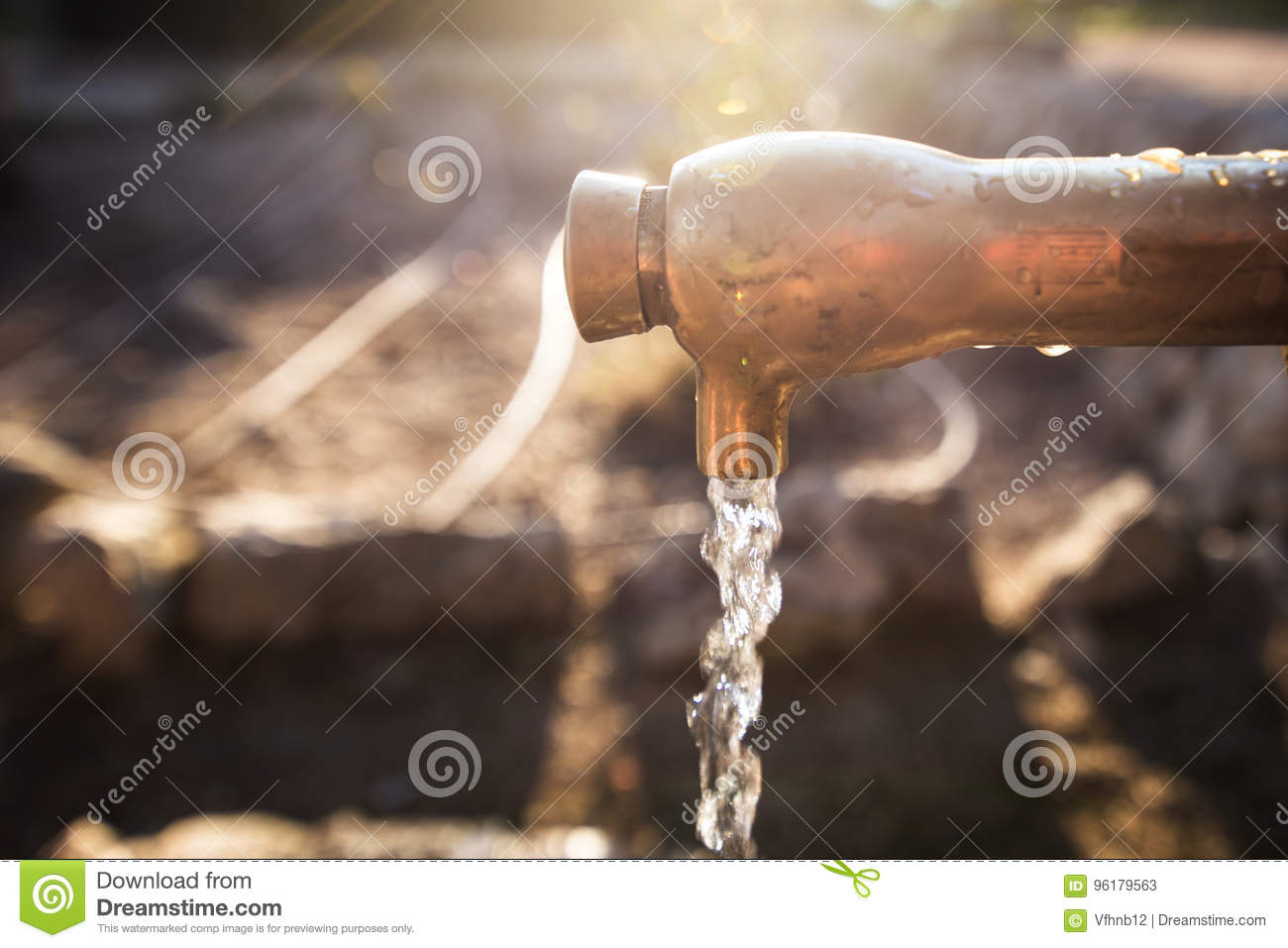 Old Rusty Water Tap In Garden Stock Image - Image of green, faucet ...