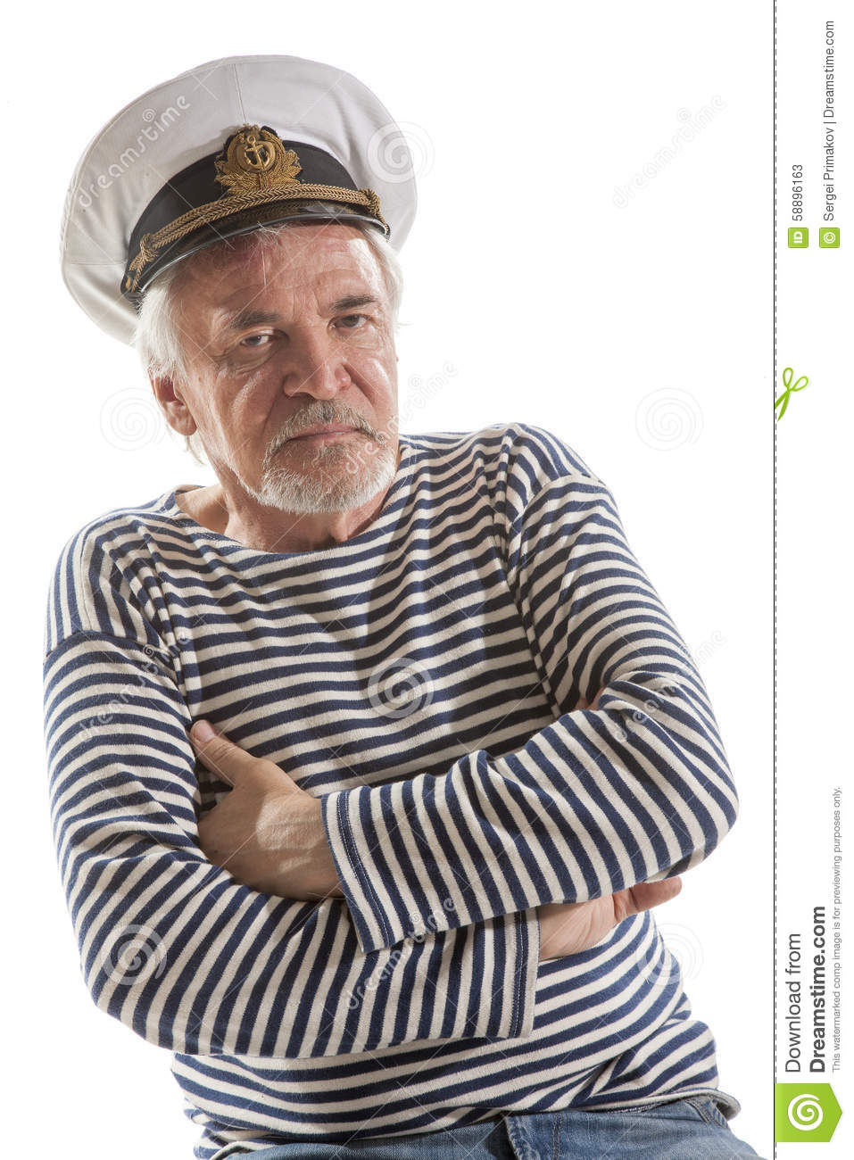 86e18e86d0de4 Portrait of old sailor man in striped shirt and hat isolated on white  background