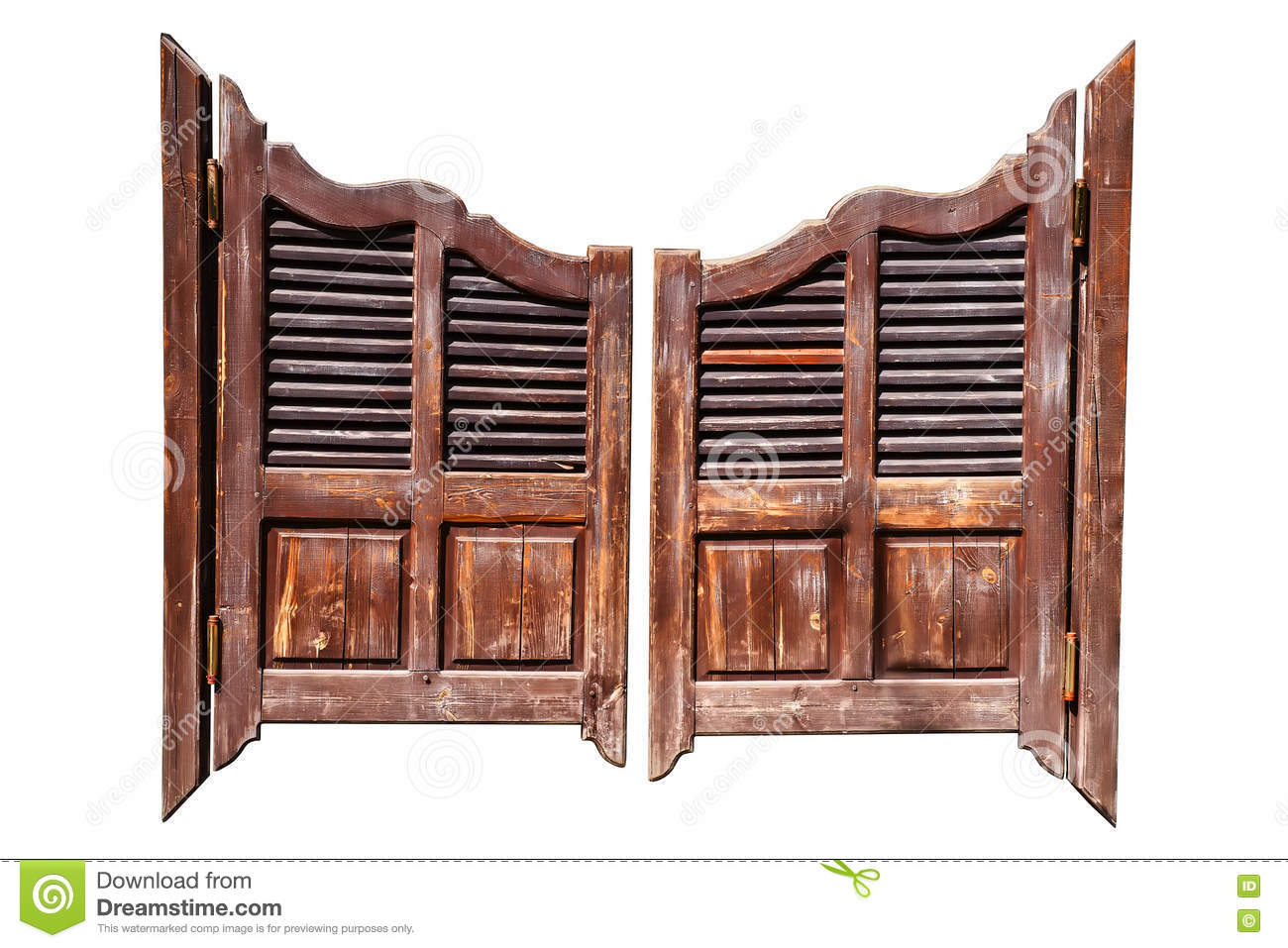 Salon doors white louvered saloon for Salon western