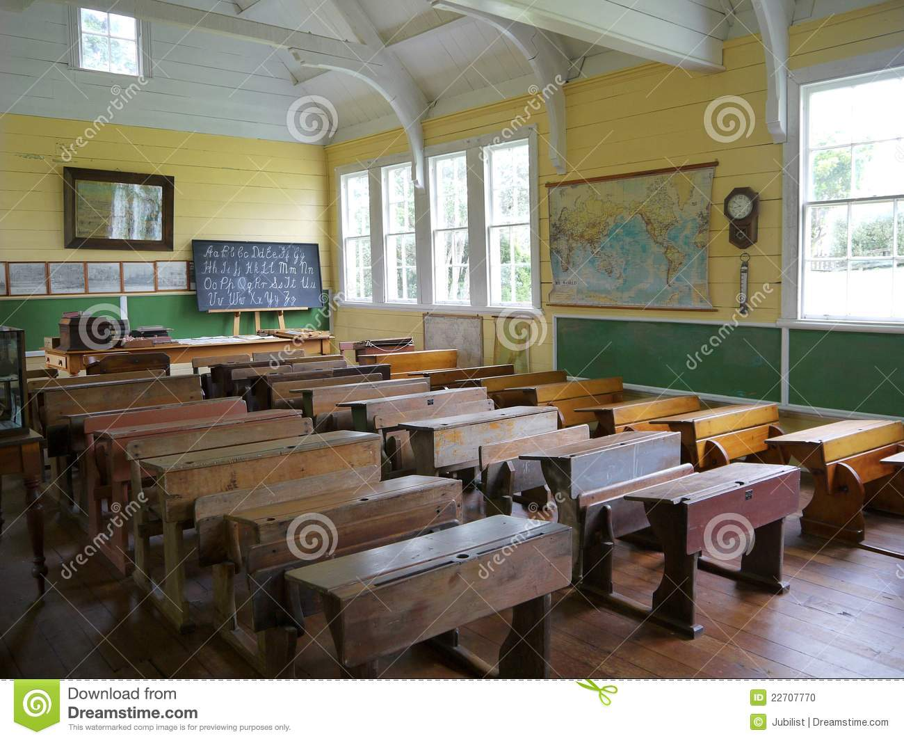 Old School Classroom With Desks H Stock Photo Image