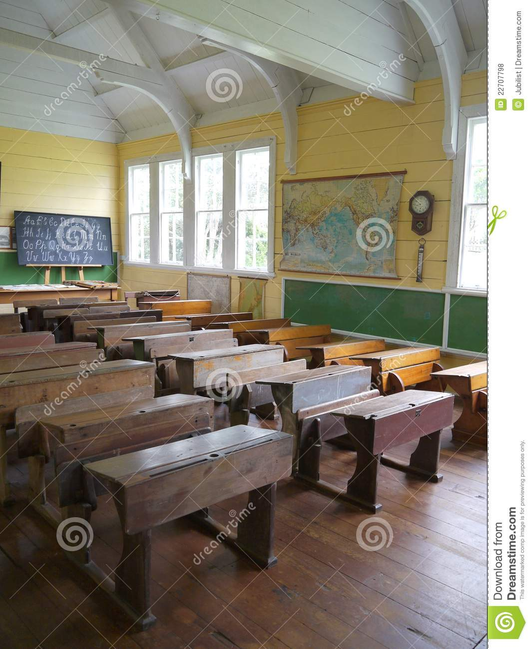 old school  classroom with desks - v stock photo