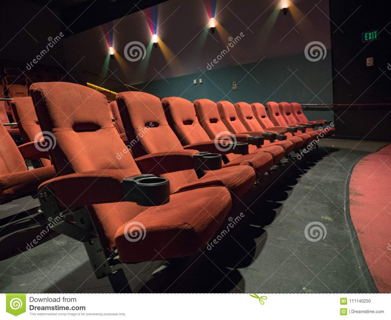 Old School Movie Theater Orange Seats Front Row Stock Photo Image Of Movie Seat 111140250