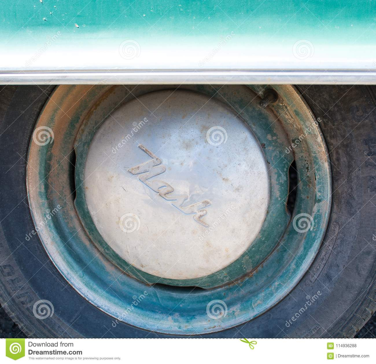 Old School Nash Hubcap Aqua Beauty Editorial Stock Photo Image Of
