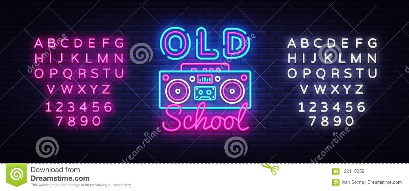 Old School Neon Sign Vector  Retro Music Design Template